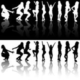 Dancing Girls Silhouettes. Illustrations With Reflections, Vector Stock Photography
