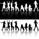 Dancing Girls Silhouettes. Illustrations And Reflections, Vector Stock Photos