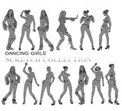 Dancing girls silhouettes, sketch Stock Photography