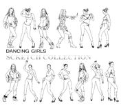 Dancing girls silhouettes, sketch. Collection Royalty Free Stock Photos