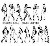 Dancing girls silhouettes, sketch Stock Photos