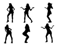 Dancing girls silhouettes. Vector illustration of dancing girls silhouettes Stock Image