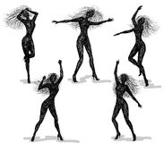 Dancing girls. Silhouettes of dancing girls. Vector sketch Royalty Free Stock Photo