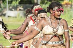 Dancing Girls Solomon Islands with handmade traditional costumes royalty free stock photo
