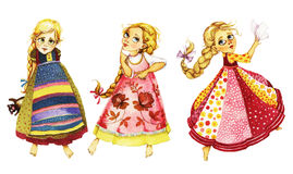 Dancing girls, watercolor illustration. Characters in colorful costumes dancing on a white background, children`s style Royalty Free Stock Images