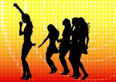 Dancing girls on yellow Stock Photo