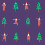 Dancing gnomes near christmas tree illustration and seamle Stock Images