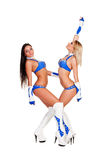 Dancing go-go dancers. Full length photo of dancing go-go dancers over white background Stock Photos