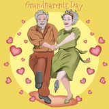 Dancing grandparents. People enjoy life and love each other. vector illustration
