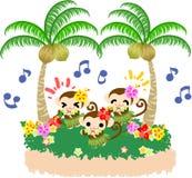 Dancing grazioso di hula delle scimmie Immagine Stock Libera da Diritti