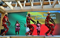 A dancing group from Benin exhibiting at the EXPO Milano 2015. Royalty Free Stock Photography