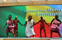 A dancing group from Benin exhibiting at the EXPO Milano 2015. Royalty Free Stock Photo