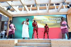 A dancing group from Benin exhibiting at the EXPO Milano 2015. Royalty Free Stock Images