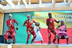 A dancing group from Benin exhibiting at the EXPO Milano 2015. Stock Photography