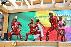 A dancing group from Benin exhibiting at the EXPO Milano 2015. Stock Images