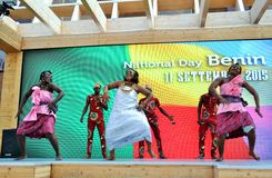 A dancing group from Benin exhibiting at the EXPO Milano 2015. Royalty Free Stock Photos