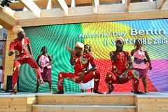 A dancing group from Benin exhibiting at the EXPO Milano 2015. Stock Image