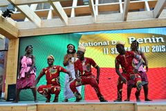 A dancing group from Benin exhibiting at the EXPO Milano 2015. Royalty Free Stock Image