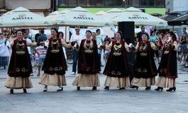Dancing group of Thessaloniki women Stock Photos