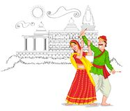 Dancing Gujarati couple Royalty Free Stock Image