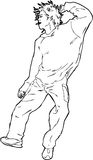 Dancing Guy. Line-art drawing for a dancing Guy Royalty Free Stock Photos