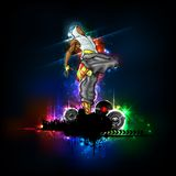 Dancing Guy. Illustration of trendy guy in dancing pose on abstract background Royalty Free Stock Images