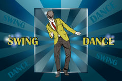 Dancing Guy dances swing. stock photos