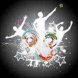 Dancing guys. Retro poster. Vector Stock Image