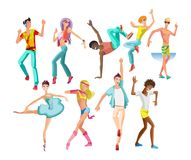 Dancing guys, girls, in modern styles, types, with different movements. Set of people dancing character in different poses. Beautiful, sporting dancing guys Royalty Free Stock Photo