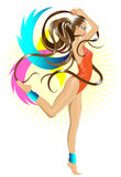 Dancing gym girl. Illustration of a beautiful girl doing gymnastic or dancing with her hair instead of ribbon royalty free illustration