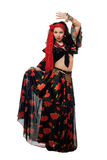 Dancing gypsy woman in a black skirt Stock Image