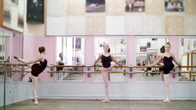 In dancing hall, Young ballerinas in black leotards stretching at barre, elegantly, standing near barre at mirror in. In dancing hall, Young ballerinas in black stock footage