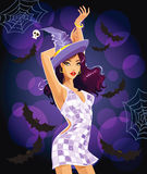 Dancing Halloween witch royalty free illustration