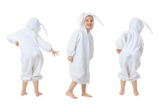 Dancing happy baby in a rabbit suit Stock Photography
