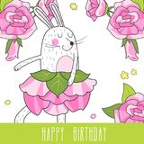 Dancing hare and roses Stock Images