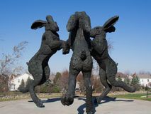 The Dancing Hares at Ballantrae Up Close. Dancing Hares Sculpture up close in a Park in the Ballantrae Neighborhood in Dublin, Ohio Royalty Free Stock Images