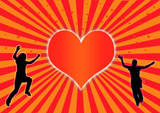 Dancing hart. Two silhouette dancers with a heart in the middle vector illustration
