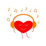 Dancing heart in headphones Royalty Free Stock Photography