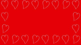 Dancing Hearts Border, red. Valentine's Day banner with sparkling dancing hearts on red background stock footage