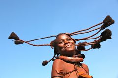 Dancing himba girl in Namibia Royalty Free Stock Image
