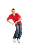 Dancing hip-hop guy in red t-shirt Royalty Free Stock Photo