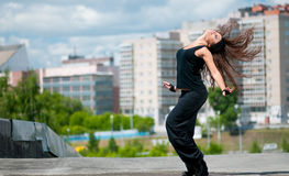Dancing hip-hop over urban city Royalty Free Stock Photography