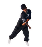 Dancing hip-hop young man on white Royalty Free Stock Image
