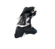 Dancing hip-hop young man on white Stock Photo