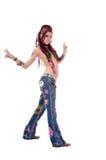 Dancing Hippie Girl Stock Photos