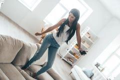 Dancing at home! Royalty Free Stock Photo