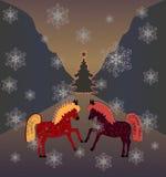 Dancing horses. Dancing horses and Christmas tree,  illustration Stock Photo