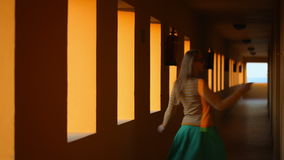 Dancing in hotel corridor Royalty Free Stock Photography