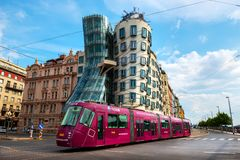Free Dancing House And Tram Royalty Free Stock Photos - 125664208
