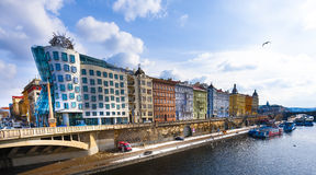 Dancing House in the center of Prague. Stock Image